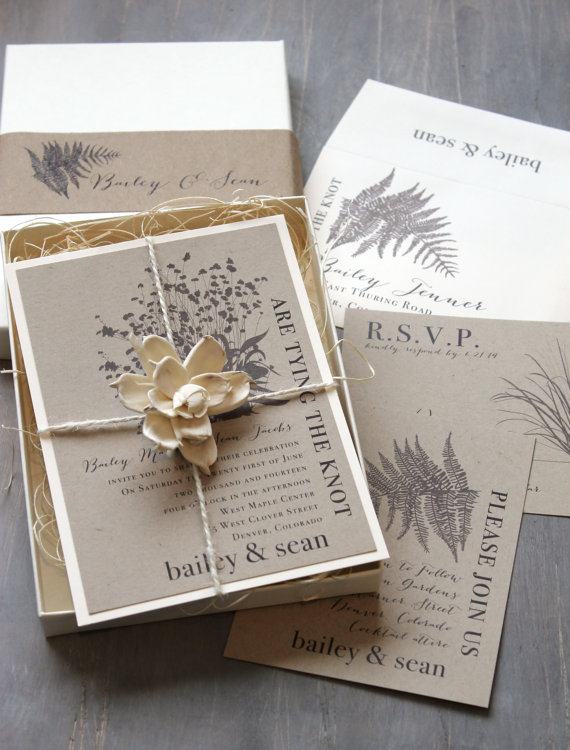 wedding rustic fern box invite sample new lower price 2