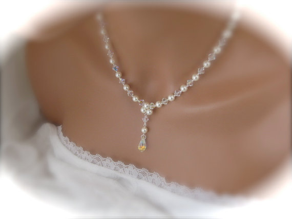 زفاف - Pearl Bridal necklace wedding jewelry Swarovski pearl and crystal wedding necklace bridal jewelry