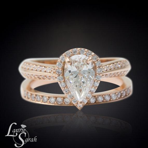 زفاف - Pear Diamond Engagement Ring, Rose Gold Pear Diamond Ring, Knife Edge Diamond Engagement Ring, Rose Gold Pear Diamond Wedding Set - LS3937