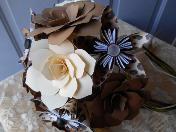 Mariage - Hand Made Leopard Print Paper Wedding Bridal Bouquet Package-Ready To Ship