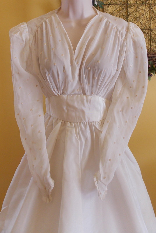 Mariage - Vintage wedding dress ivory sheer embroidered top taffeta skirt ruffles small