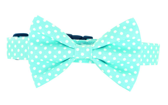 زفاف - Aqua Dot Bow Tie Dog Collar/ Spring Dog Bow Tie Collar: Seaglass Dot