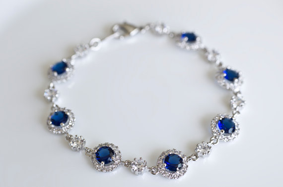 Свадьба - Bridal Bracelet, Blue Sapphire Bridal Bracelet, Something Blue Bracelet, Cubic Zirconia White and Sapphire Bridal Bracelet, Wedding Jewelry