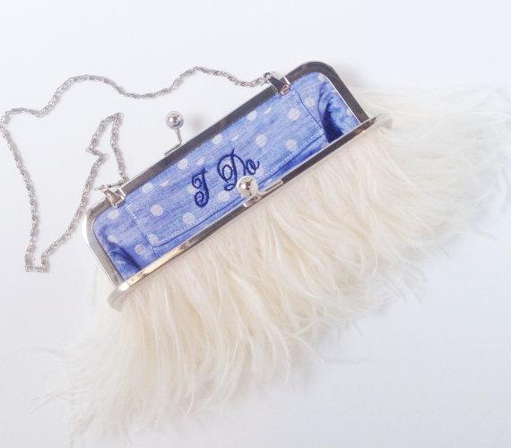 Свадьба - Ostrich Feather Bridal Clutch -silver frame- Ivory, wedding clutch, ready to ship, something blue