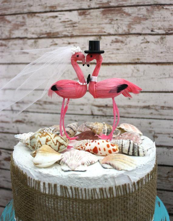 زفاف - beach wedding cake topper-Tropical destination-wedding cake topper-Flamingo-Flamingo wedding cake topper-