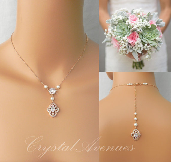 Свадьба - Pearl Bridal Necklace, Rose Gold, Dainty Backdrop Bridal Necklace, Wedding earrings, Vintage Style Bridal Jewelry SET, Lola Bridal Jewelry