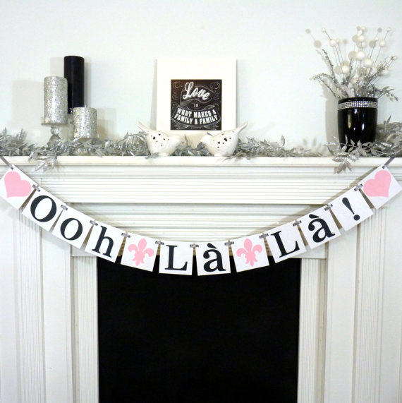 bridal shower banner ooh la la banner french bridal shower lingerie shower bachelorette party paris fleur de lis