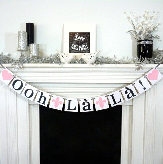 Свадьба - Bridal Shower Banner/ Ooh La La Banner/ French Bridal Shower/ Lingerie Shower/ Bachelorette Party/ Paris Fleur de Lis