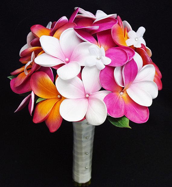 Свадьба - Wedding Silk Plumerias Mix Bridal Bouquet - Fuchsia Orange Natural Touch Silk Flower Wedding Bouquet