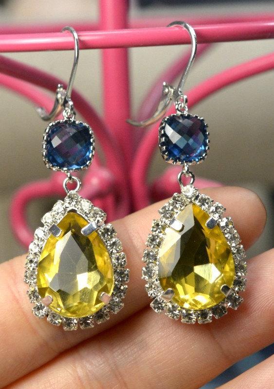 Navy Blue Yellow Bridesmaid Jewelry Sapphire Blue Drop