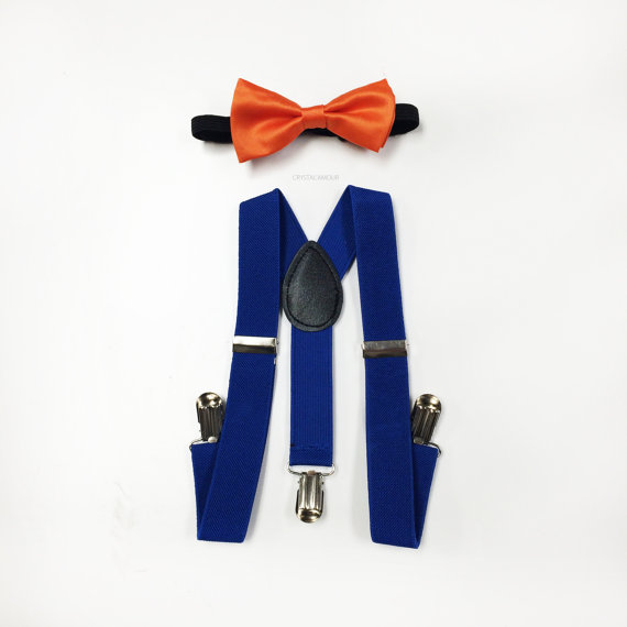 Свадьба - toddler bowtie and suspenders - blue toddler suspenders and orange bowtie set - for baby boy/girl parties, ring bearer, birthday party