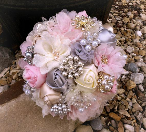 Mariage - Romantic Fabric Flower and Brooch Bouquet -  Blush Pink, Grey & Ivory, OR YOUR COLORS