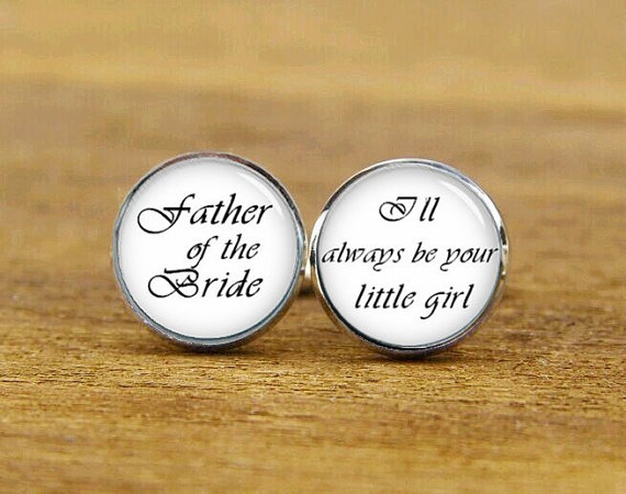 Mariage - father of the bride cufflinks, i'll always be your little girl, custom wedding cuff links, groom cufflinks, square cufflink, tie clips