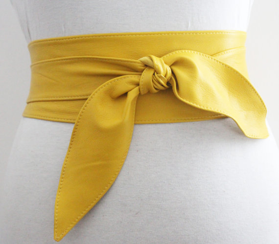 Mariage - Yellow Belt tulip Tie Soft Leather Obi
