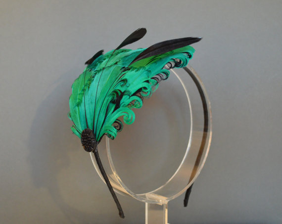 Mariage - Green and Black Feather Headband Fascinator Burlesque Wedding Bridesmaids Hair Accessory Curled Feathers 'Delilah'