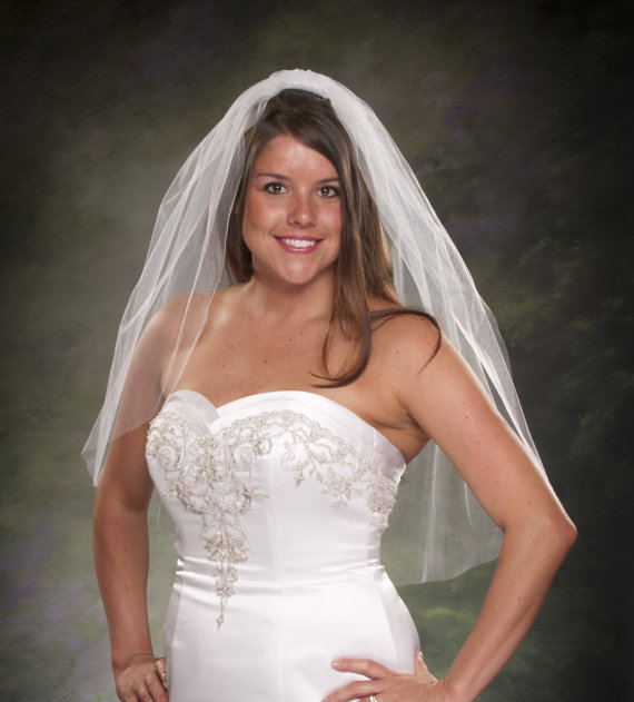 Bridal Veils Plain Cut Edge Waist Length Wedding Veil 1 Layer 32 Tier White Ivory Diamond Tulle