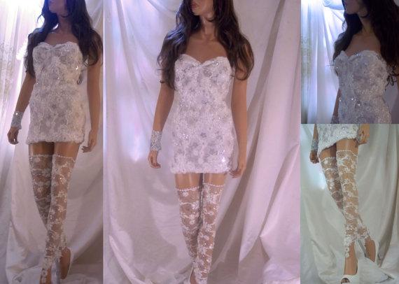 98eaed47238 Beautiful White Lace Mini Dress With Matching Leg Accessory ...
