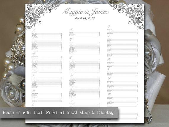 Свадьба - Wedding Seating Chart Template Download