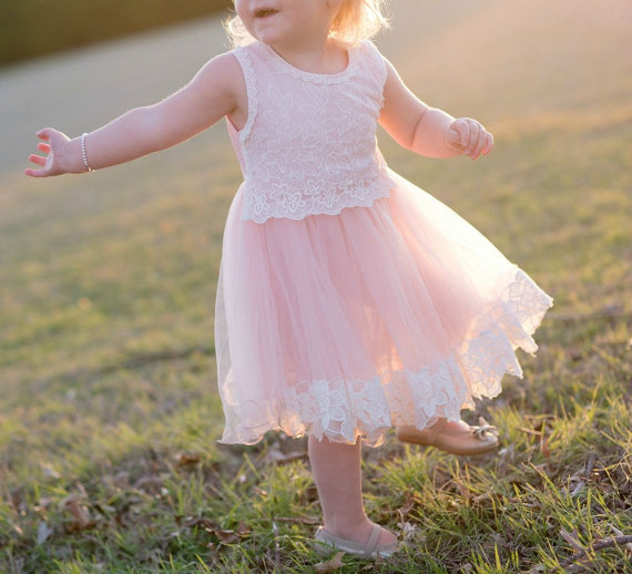 زفاف - Pink Tulle Lace Girl Dress - flower girl wedding dress, wedding tulle dress, lace flower girl dress, baby girl dress, birthday dress