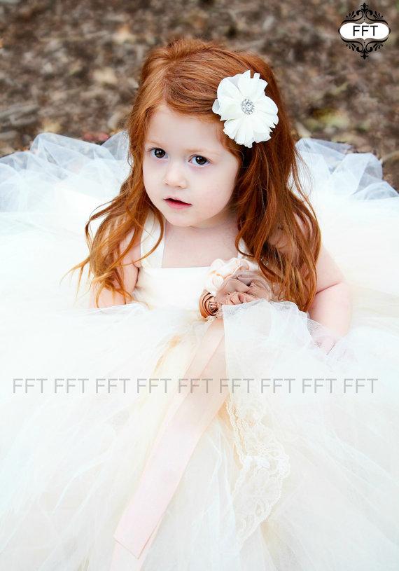 زفاف - Ivory, Champagne, Caramel, Beige Flower Girl Dress, Tutu Dress, Newborn-24m, 2t,2t,4t,5t, 6, birthday