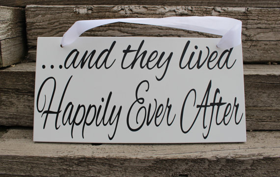 Wedding - And they lived happily ever after sign-wedding prop-wedding sign-flower girl sign-Ring bearer sign-wedding aisle sign-reception decor