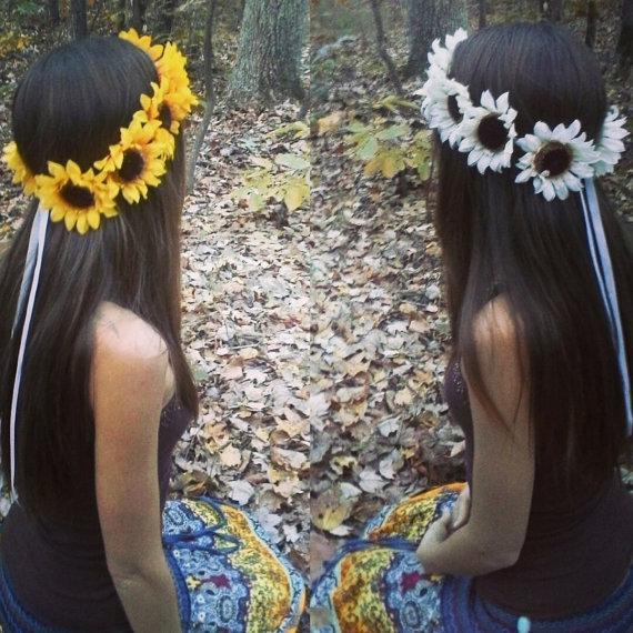 Mariage - Sunflower, Crown, Big, Headband, Yellow, Sunflowers, Halo, Hair, wreath, Headpiece, spring, summer, festival, wedding, girl,  large, huge
