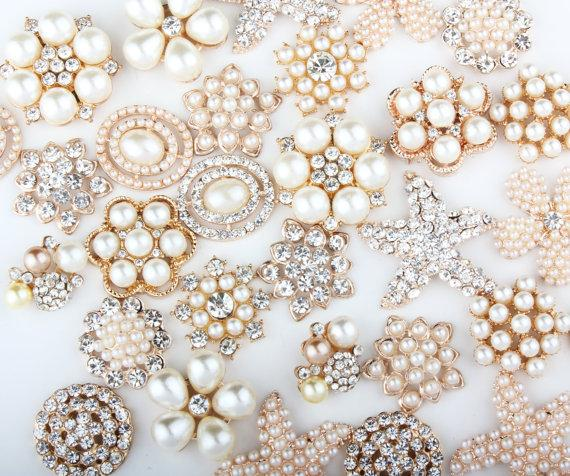 20pcs Metal Pearl Rhinestone Gold Flatback Crystal Mixed