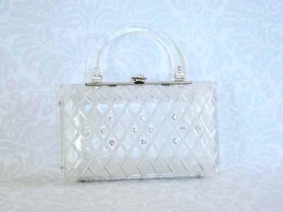 Mariage - Vintage Clear Lucite Purse  /  Carved Lattice  Rhinestone Jeweled Clasp Clutch  /  50s Clutch Purse Wedding Evening Bag Accessory
