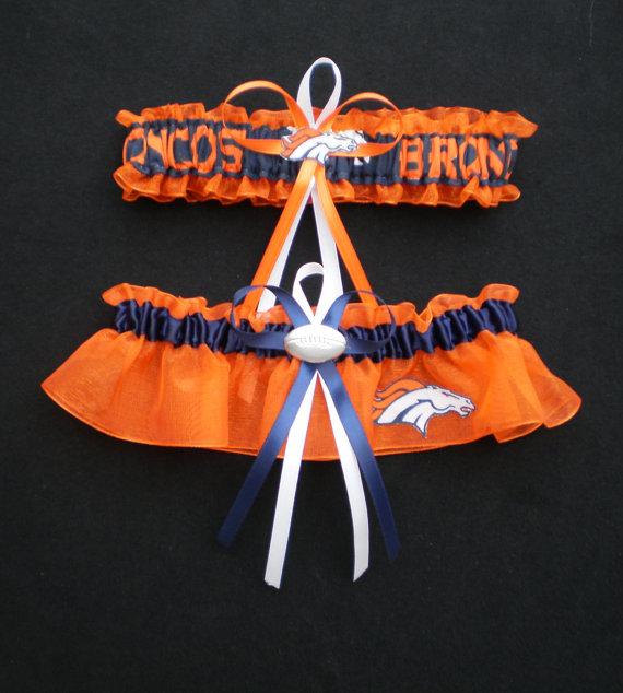 Свадьба - Denver Broncos Fabric  Wedding Garter Set Prom  Football Charm Orange