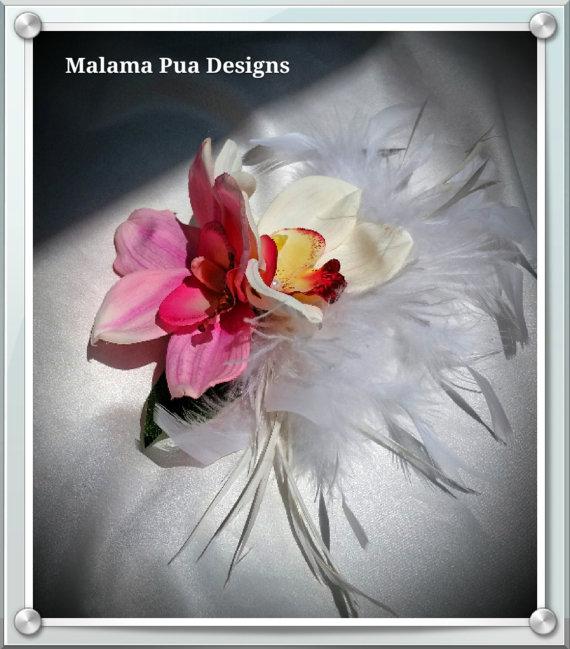 """Mariage - TROPICAL HAIR CLIP, The """"Meriel"""" Orchid, Bridal Hair Accessory, Hawaiian, Hair clip, Headpiece, Beach Wedding, Fascinator, Pearls & Feathers"""