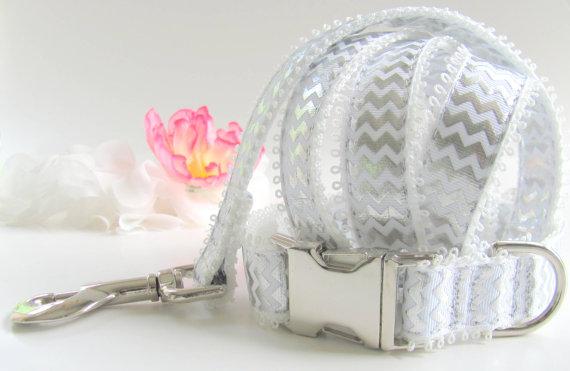 Свадьба - Silver and White Chevron Dog Collar Wedding Set