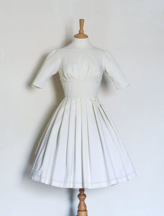 زفاف - Size UK 10 - White Stripe Silk Cotton Mix Audrey Wedding Dress- Made by Dig For Victory