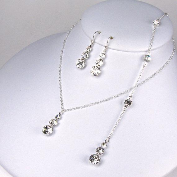 Backdrop Bridal Necklace Set Graduating 3 Stone Rhinestone Swarovski Crystal Jewelry Back Earring Demetria