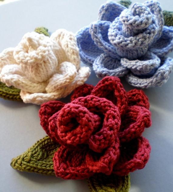 Mariage - PDF Knit Flower Pattern - Rose Flower