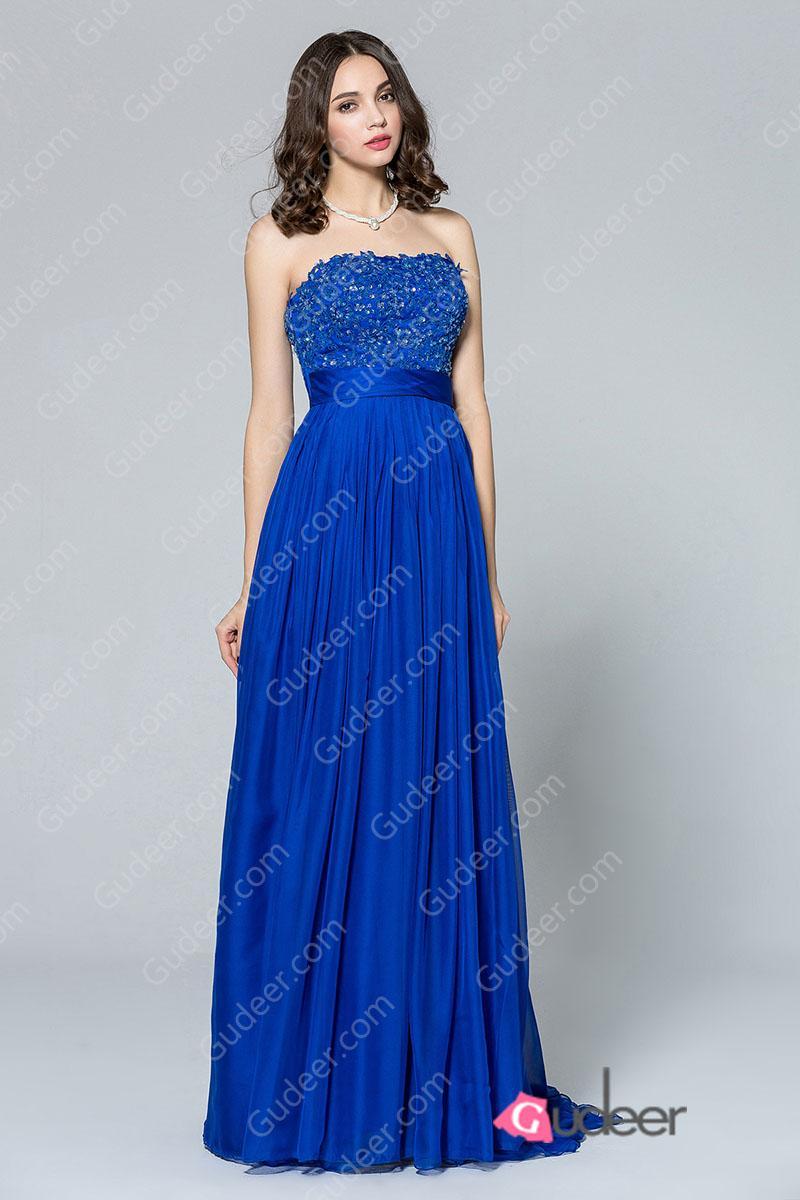Royal blue straight beaded long chiffon bridesmaid dress for Long straight wedding dresses