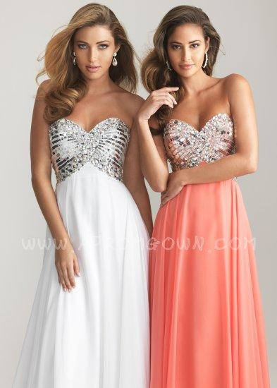 Boda - Floor Length Night Moves 6613 White/Coral Strapless Prom Gown