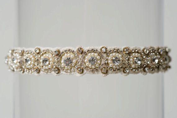 "Свадьба - Ivory Beaded Rhinestone Pearl Vintage Wedding Garter ""Lori"""