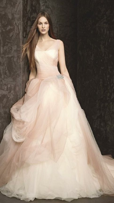 Mariage - White By Vera Wang - Tulle Wedding Dress With Satin Sash And Horsehair Trim