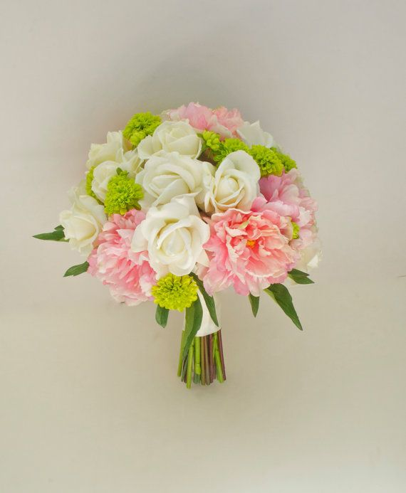 Large Peony Bouquet With Button Mums 14 Pink Ivory Green