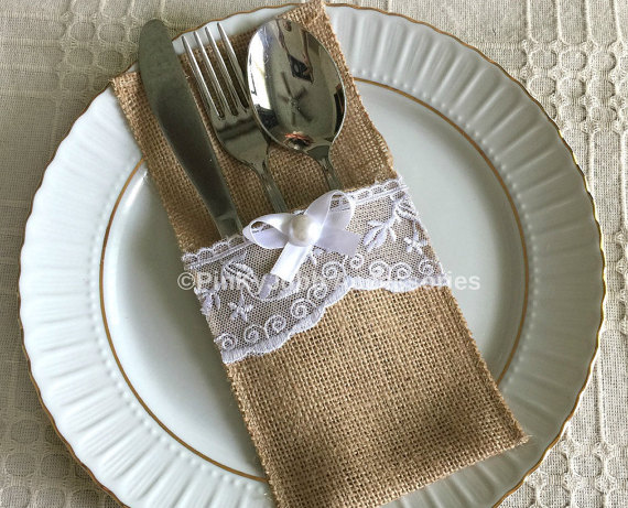 Wedding - 10 burlap and white color lace rustic silverware holder, wedding, bridal shower, tea party table decoration