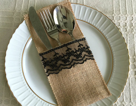 Hochzeit - 10 burlap and black color lace rustic silverware holder, wedding, bridal shower, tea party table decoration