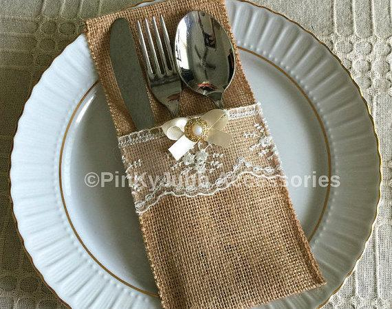 Hochzeit - 10 burlap and ivory color lace rustic silverware holder, wedding, bridal shower, tea party table decoration