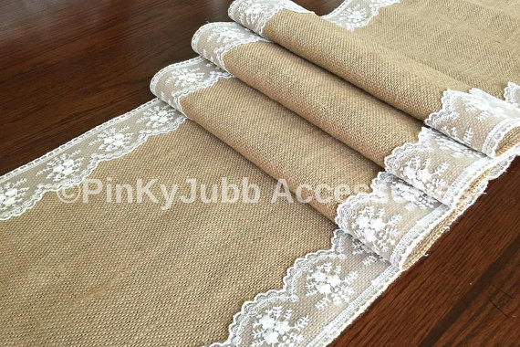 Wedding - burlap table runner with ivory color lace trim, rustic wedding, engagement table decoration runner