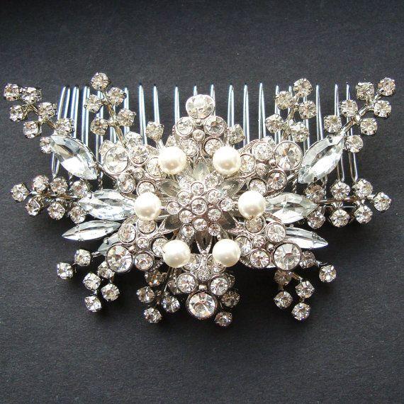 Mariage - Pearl & Rhinestone Bridal Hair Accessories, Vintage Style Wedding Bridal Hair Comb, Statement Bridal Wedding Headpiece, STARGAZER II