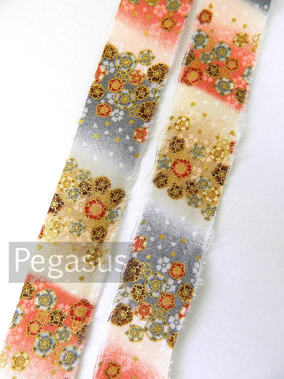 Свадьба - Japanese Cherry Blossom Gray, Ivory, Pink Ombre Print Handmade Cotton Ribbons (Sold by the Yard) scrapbooking,gift wrapping,DIY craft Supply