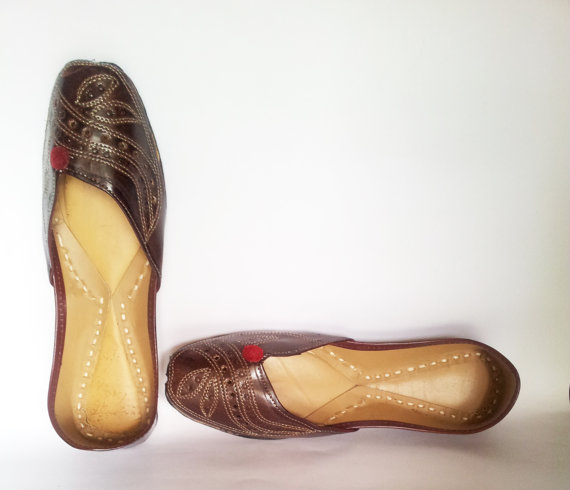 Свадьба - US SIZE 10/Women Ballet Flats/Royal Brown Embroidered Women Shoe/Brown Wedding  Shoes/Leather Shoes/Royal Styled Jooties