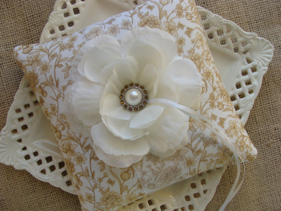 Wedding - Wedding Ring Bearer Pillow - White Peony on White & Champagne