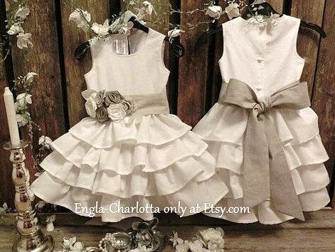 Hochzeit - Off white flower girl dress Vintage wedding Boho flower girl Rustic flower girl dress Country flower girl Linen ruffle flower girl dress
