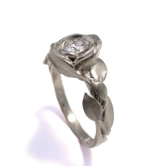 Wedding - Rose Engagement Ring No.1 - 18K White Gold and Diamond engagement ring, engagement ring, leaf ring, flower, antique,art nouveau,vintage