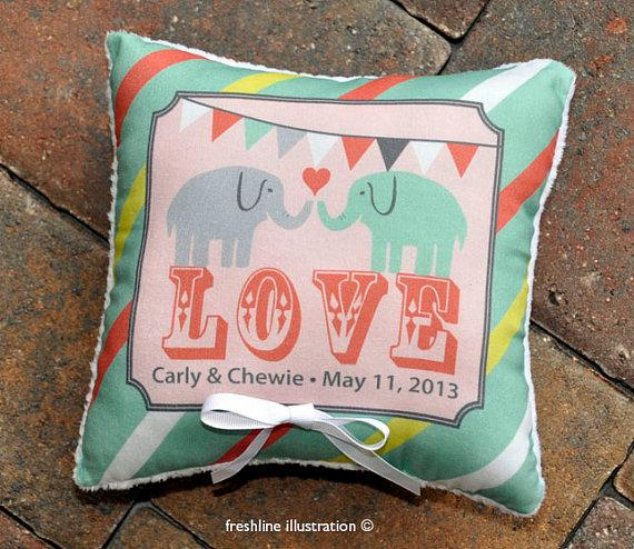 Wedding - Custom Ring Bearer Pillow - Carnival Theme - Banner Bunting Pillow - Elephant - Circus - ANY color scheme